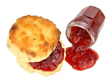 Scone And Strawberry Jam Stock Photos