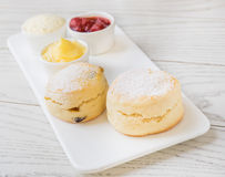 Scone on white plate Stock Photography
