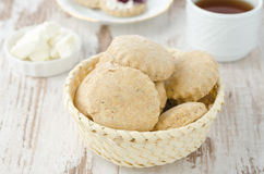 Scone of whole wheat in a wicker basket horizontal Stock Photography