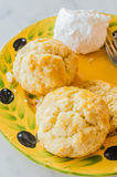 Scone. With wip cream in yellow vintage dish Royalty Free Stock Image