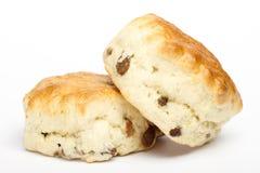 2 scones плодоовощ на белизне Стоковая Фотография