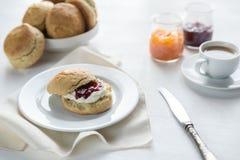 Scones с сливк и вареньем и чашкой кофе плодоовощ Стоковая Фотография