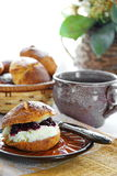 Scones. With jem and whipped cream royalty free stock image