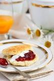 Scones. Breakfast scones with fresh jam Royalty Free Stock Photo