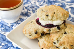 Scones. Afternoon tea, scones, jam, cream Stock Photos