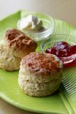 Scones. Freshly baked scones served with butter and jam Royalty Free Stock Photography
