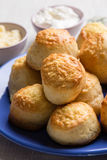 Scones on blue plate Stock Photo