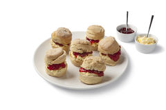 Scones with clotted cream and jam Stock Photo