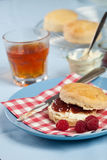 Scones with cream and jam. Delicious scone with clotted cream and raspberry jam Stock Photography