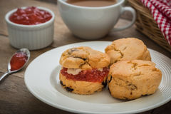 Scones with cream and jam on plate and coffee cup Royalty Free Stock Photos