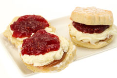 Scones with fresh cream and strawberry jam. Cream tea - scones with strawberry jam and whipped cream - studio shot with selective focus and a white background Royalty Free Stock Photography