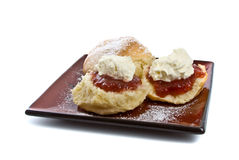Scones with Jam and Cream Stock Photography