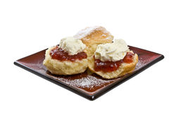 Scones with Jam and Cream Royalty Free Stock Photos