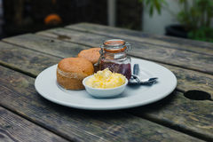 Scones with jam and cream Royalty Free Stock Photography