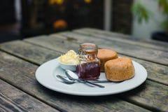 Scones with jam and cream Stock Image
