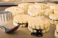 Scones with jam filling Royalty Free Stock Images