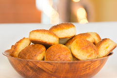 Scones made of cottage cheese. In bamboo plate Stock Photography