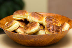 Scones made of potato. In bamboo plate Royalty Free Stock Photography