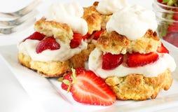 Scones, strawberries and cream Stock Photos