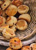 Scones with sultanas in basket Royalty Free Stock Photos
