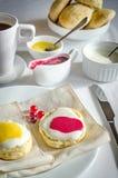 Scones z śmietanką, cytryny curd i cranberry batożącymi, przyskrzyniają Fotografia Stock