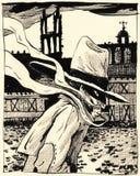 Sconosciuto misterioso in una città medievale Un buon manifesto o illustrazione illustrazione vettoriale