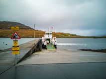 Sconser, Isle of Skye Scotland - October 23 2018 : Cars driving on the ferry to Raasay royalty free stock photography