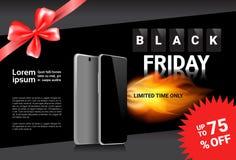 Sconti dell'insegna del modello di vendita di Black Friday su progettazione moderna del manifesto degli Smart Phone Fotografie Stock