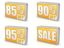 Sconti l'icona di vendita 3d di 85% 90% 95% su fondo bianco Royalty Illustrazione gratis