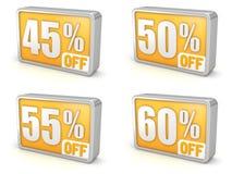 Sconti l'icona di vendita 3d di 45% 50% 55% 60% su fondo bianco Immagini Stock Libere da Diritti