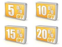 Sconti l'icona di vendita 3d di 5% 10% 15% 20% su fondo bianco Fotografia Stock Libera da Diritti