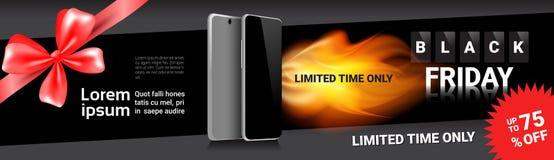 Sconti orizzontali dell'insegna del modello di vendita di Black Friday sugli Smart Phone moderni Fotografia Stock