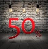 sconti 50 per cento fuori con l'offerta speciale del testo il vostro sconto dentro Immagini Stock