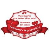 Sconti per gli amanti - etichetta degli speciali del ` s del biglietto di S. Valentino Fotografia Stock
