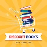 Sconto del libro il giorno degli amanti di libro illustrazione di stock