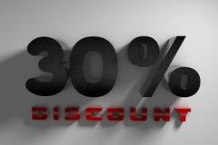 sconto dell'iscrizione 30% della rappresentazione 3D su un fondo bianco illustrazione di stock