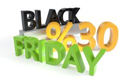 Sconto di Black Friday trenta per cento, rappresentazione 3d Immagini Stock