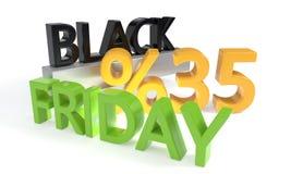 Sconto di Black Friday trentacinque per cento, rappresentazione 3d Fotografie Stock Libere da Diritti