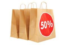 Sconto di carta dei sacchetti della spesa Immagini Stock Libere da Diritti