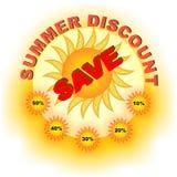Sconto di estate - sole con l'etichetta delle percentuali illustrazione di stock