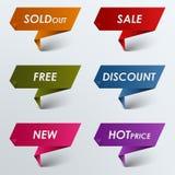 Sconto di vendita del puntatore colorato carta Fotografia Stock