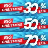 Sconto di vendita di Natale Le vendite di pubblicità di natale sconta gli affari, l'offerta speciale di vacanza invernale e l'aff illustrazione di stock