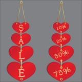Sconto di vendita nei cuori Fotografia Stock Libera da Diritti