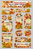 Sconto di vettore del mercato del negozio o dell'azienda agricola di vendita di autunno Royalty Illustrazione gratis