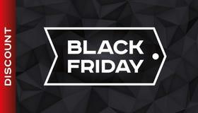 Sconto nero di venerdì Forma geometrica del volume, cristalli del nero 3d Fondo basso di buio dei poligoni Accento rosso Poligoni Fotografia Stock Libera da Diritti