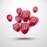 Sconto rosso di Baloons Concetto di VENDITA per il commercio della pubblicità del deposito del mercato del negozio Sconto del mer illustrazione di stock