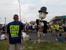 Scontro dei dimostranti alla convenzione di DNC Fotografie Stock Libere da Diritti