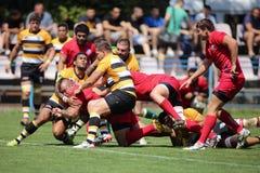 Scontro di rugby Fotografia Stock