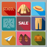Scool sales icon set Royalty Free Stock Photo