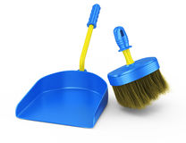 Scoop and broom. On white background. cleaning concept. 3d rendered image Stock Image